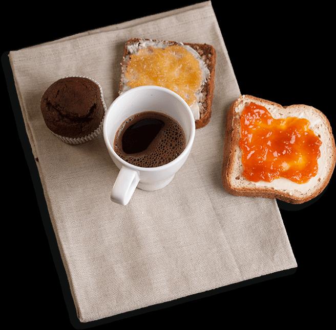 Kruh bez glutena, muffin  i kava